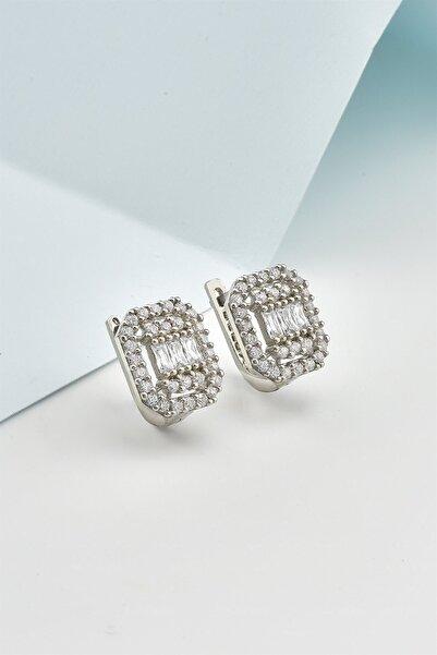 jelux silver Pırlanta Montür Zirkon Baget Taşlı Gümüş Klipsli Küpe