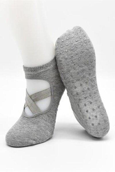 ALTEKS MAĞAZALARI Kadın Pamuklu Altı Kaydırmaz Düz Pilates Ve Yoga Çorabı