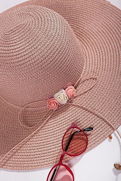 İlhan Işık Kadın Fiyonklu Çiçekli Plaj Yazlık 57 Cm Fötr Şapka