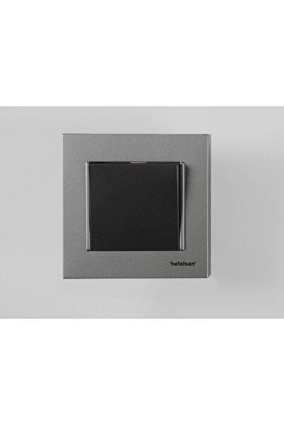 Netelsan Tekli Anahtar Gümüş Siyah Tekli Elektrik Düğmesi 1 Adet