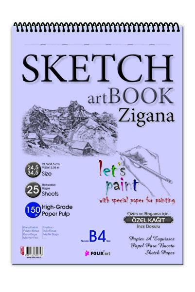 Etika Sketchbook Zigana B4 Spiralli 150 gr. 24,5x34,5 cm 25 yp. Eskiz Defteri