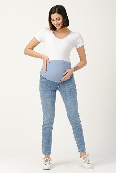 BUSA Kadın Açık Mavi Hamile Fit Kot Pantolon