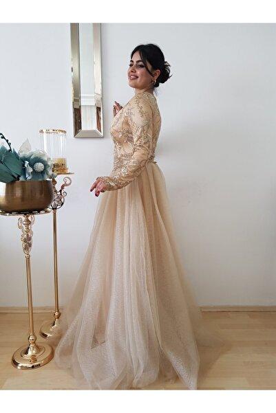 FERGAN Kadın Gold Tesettür Nişanlik Abiye Elbise