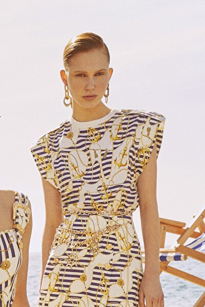 Raisa&Vanessa for Trendyol Çok Renkli Marin Desenli Bluz TDPSS21BZ0427