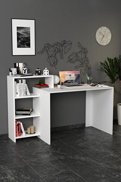 Moonlife Ahsen Kitaplıklı Çalışma Masası Beyaz