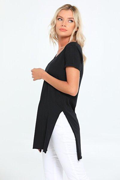 julude Kadın  Siyah V Yaka Yanları Yarı Dikişsiz Tunik T-shirt