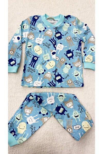 Melisa Çocuk Pijaması %100 Pamuk Önden Çıtçıtlı Canavar Desenli