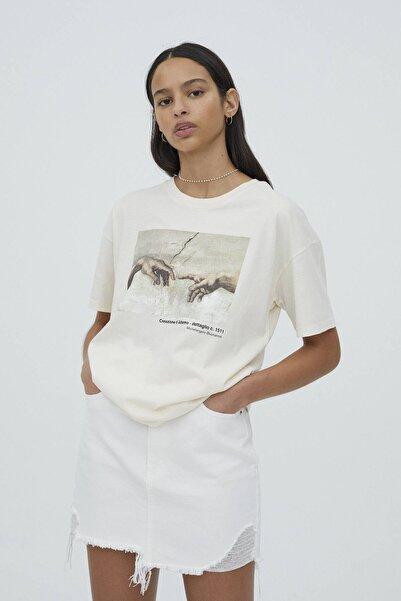 Pull & Bear Kadın Ekru Michelangelo Sistina Şapeli Görselli T-shirt
