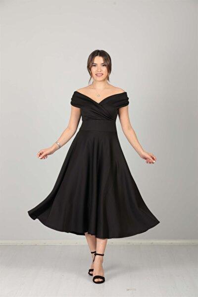giyimmasalı Kayık Yaka Midi Elbise - Siyah