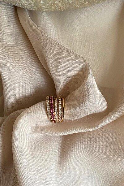 Madame Daisy Bijuteri Ithal Vip Collection Kalın Model Pembe Beyaz Taşlı Kıkırdak (sıkıştırma) Küpe