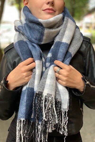 Novon Giyim & Aksesuar Kadın Mavi Ekoseli Çift Taraflı Saçaklı Uzun Atkı