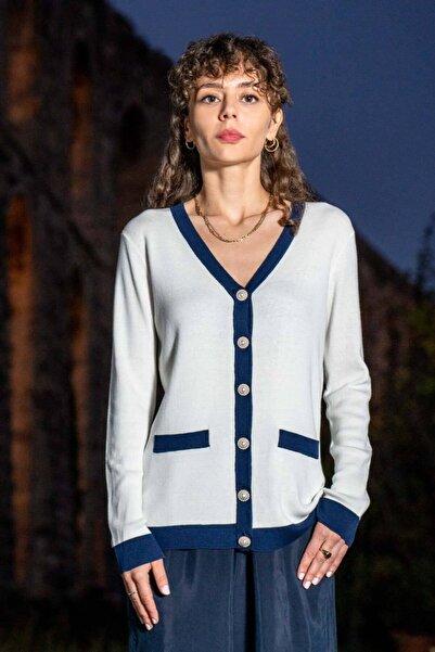 Silk and Cashmere Kadın Beyaz Karışımlı Mercur Uzun Kollu Hırka