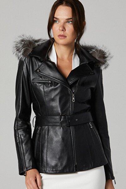 Derimod Kadın Siyah Nikita Deri Ceket