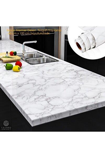 TechnoSmart Mutfak Tezgah Üstü Folyo Kaplama Mermer Desenli Beyaz Banyo Dolap Kaplama 60cmx100cm