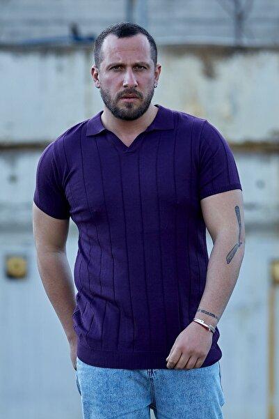 Karpefingo Erkek Mor  Ince Cizgili Polo Yaka Tshirt