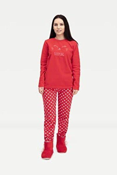 Sleeping Bunny Polar Kadın Pijama Takımı Kırmızı