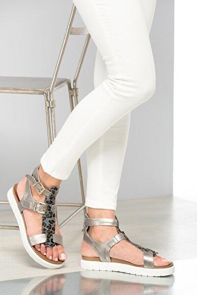 İnci Hakiki Deri Gümüş Kadın Sandalet 120130001003