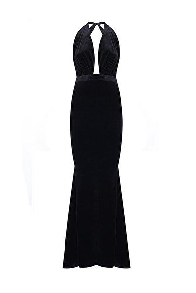 Nunu's Closet by Nur Karaata Kadın Siyah Kadife Elbise Ncn12