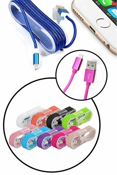 Buffer Örgü Şeklinde Renkli Şarj Data Kablosu: 1.5 M Apple