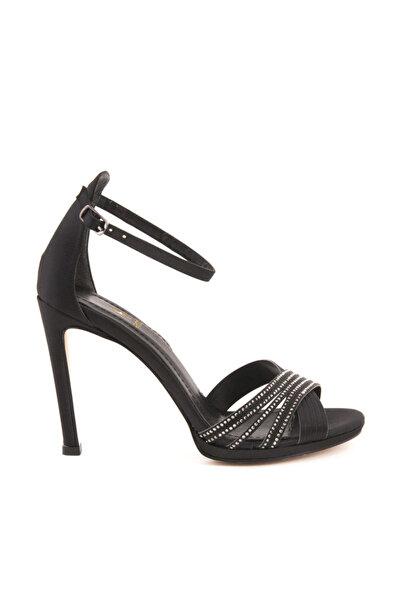 Tanca Hakiki Deri Sıyah Saten Kadın Topuklu  Ayakkabı 191TCK757 0427