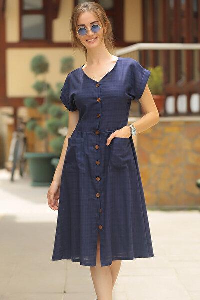 armonika Kadın Lacivert Cepli Önü Düğmeli Elbise ARM-18Y001138