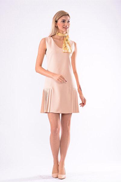 İroni Kadın Acık Bej V Yaka Kolsuz Pileli Elbise 5246-891