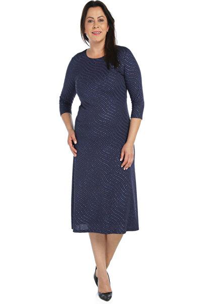 Nidya Moda Kadın Lacivert Dalga Sim Abiye Elbise 4087L