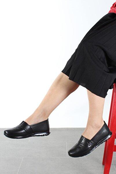 FAST STEP Hakiki Deri Ortopedik Siyah Kadın Ayakkabı
