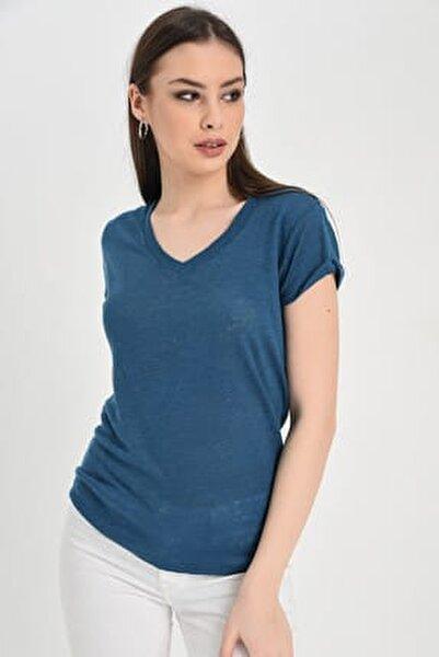 Kadın Mavi  V Yakalı Kısa Kollu Basic Tshırt  Hn1381