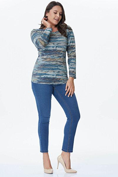 MYLİNE Kadın Mavi 5 Cep Denim Pantolon 23429