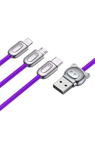 Baseus Camlt 3in1 Type-c-lightning-micro Usb 3ın1 Halat Usb Kablo Mor Camlt-pg03