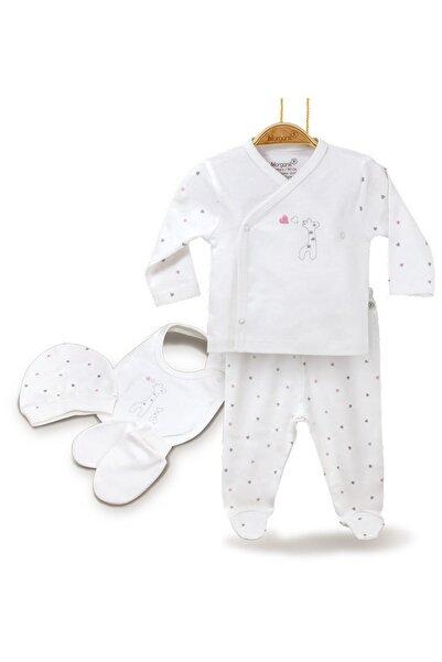 Bibaby Kız Bebek Ekru Bi Organik 62141 Baby Giraffe 5 Li Zıbın Seti