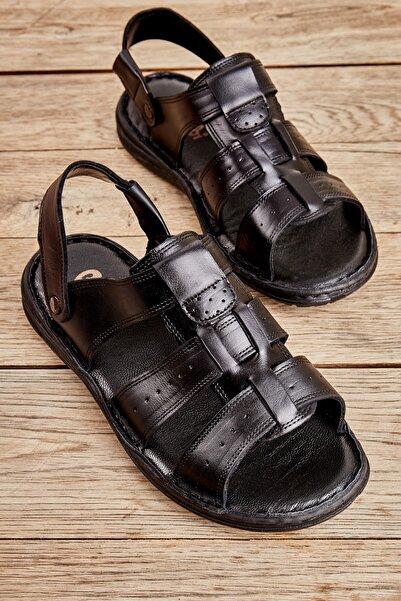 Bambi Hakiki Deri Siyah Erkek Sandalet L1501600903