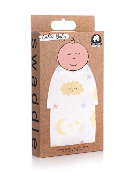 Caline Baby Sarı Bulut Desen Müslin Bezi Örtü 120x120 cm + 4 Adet Ağız Mendili