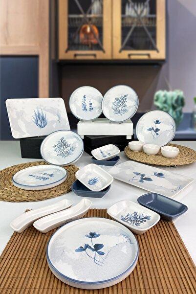 Keramika Blue Magic  Stackable Kahvaltı Takımı 19 Parça 6 Kişilik