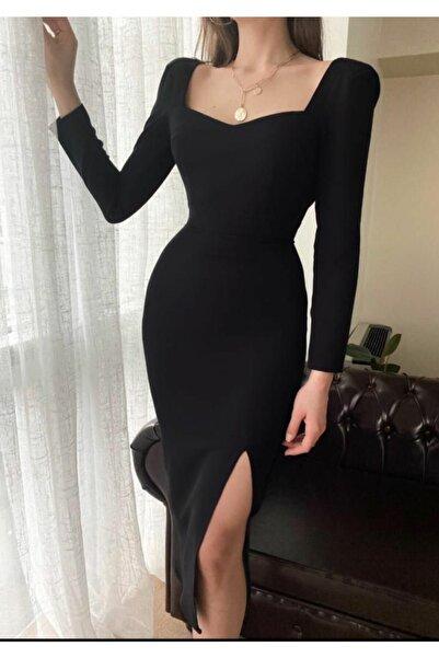 Anisa Diko Siyah Yırtmaçlı Elbise