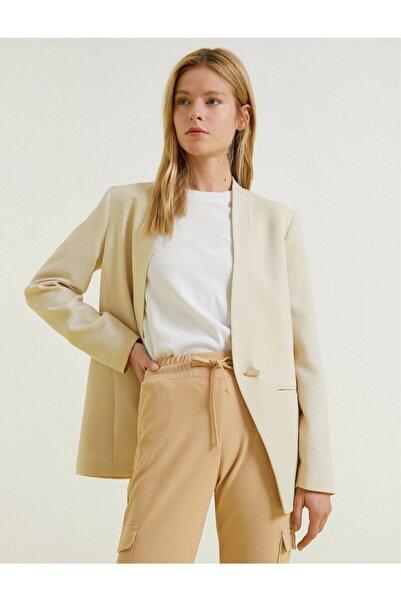 Koton Kadın Ekru Cepli Ceket