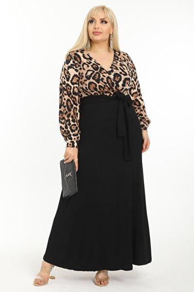 Mooi XXL Kadın Kahverengi Leopar Desenli Maksi Uzun Kol Büyük Beden Elbise
