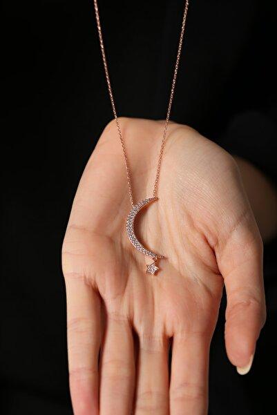 Forenza Kadın  Gümüş Rose Yıldız Parçalı Ay Kolye 925 Ayar