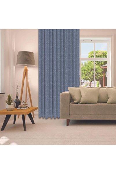 Henge Home Mavi Beyaz Osmanlı Motifli Geometrik Baskılı Tekli Fon Perde
