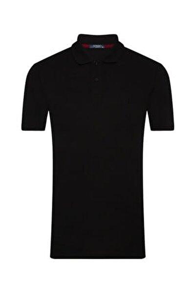 Erkek Siyah Slim Fit Polo Yaka Tişört