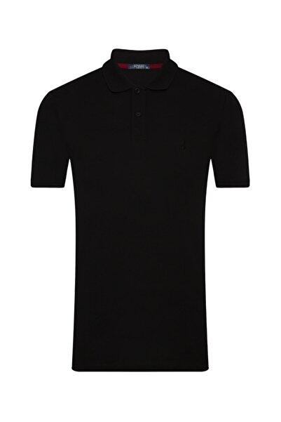 SÜVARİ Erkek Siyah Slim Fit Polo Yaka Tişört