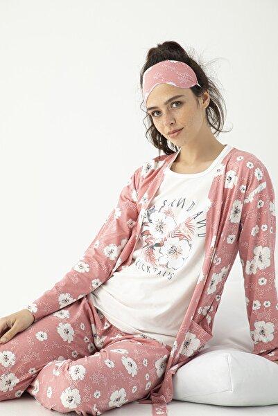 Mirano Kadın Sabahlıklı Uyku Bantlı Yıldız Baskılı 5'li Pijama Takımı Gül Kurusu Homewear Ev Kıyafeti 4016