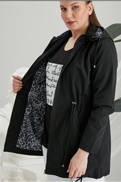 RMG Kadın Siyah Iç Astar Leopar Desenli Büyük Beden Trençkot