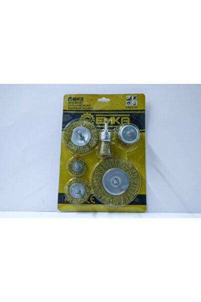 Emka 6 Parça Pimli Matkap Tel Fırça Seti (38mm+50mm+75mm+100mm) Dairesel +25mm Kalem+75mm Çanak