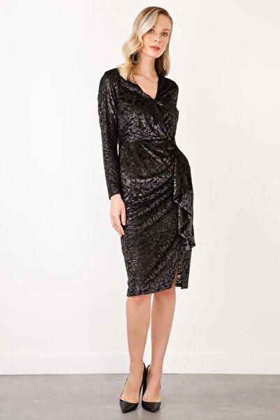 Ekol Kadın Siyah Kruvaze Desenli Kadife Elbise