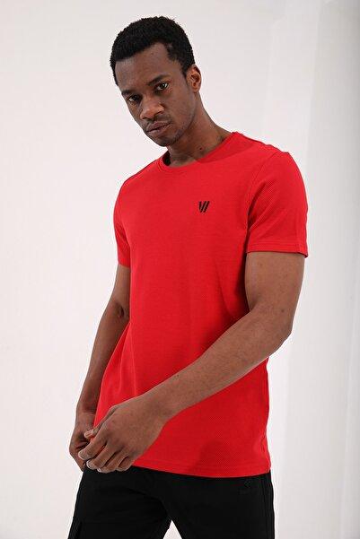 Tommy Life Kırmızı Erkek Petek Dokulu Çift Ok Logolu Standart Kalıp O Yaka T-shirt - 87921