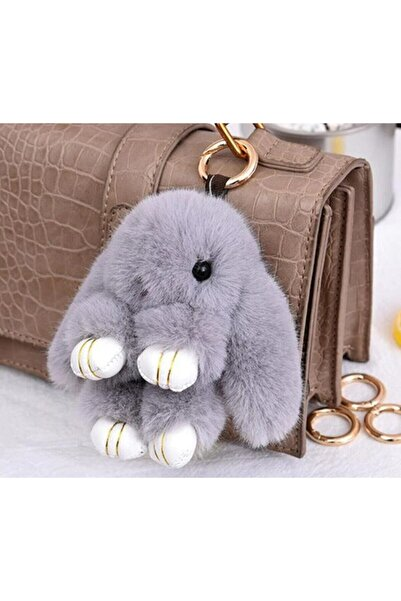 e-life Açık Gri Sevimli Yumuşak Peluş Tavşan Anahtarlık Çanta Aksesuarı 18 cm Es1014