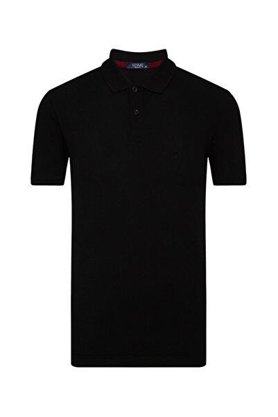 SÜVARİ Erkek Siyah Bol Kesim Polo Yaka Tişört
