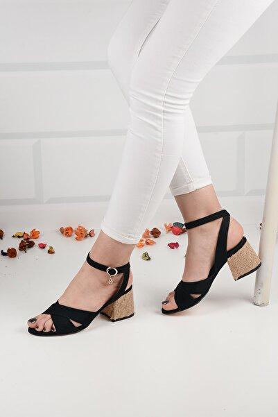 Weynes Kadın Siyah Süet Hasır Topuklu Sandalet